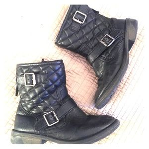 Girls Quilted Moto Boots